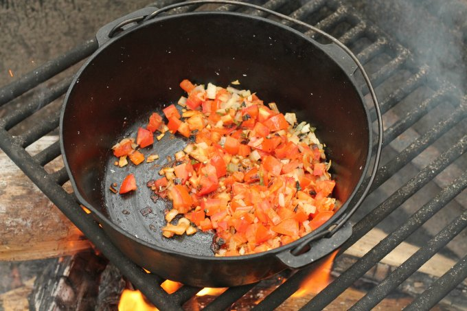Campfire Roasted Salsa Egg Sandwiches - tomatoes and onions