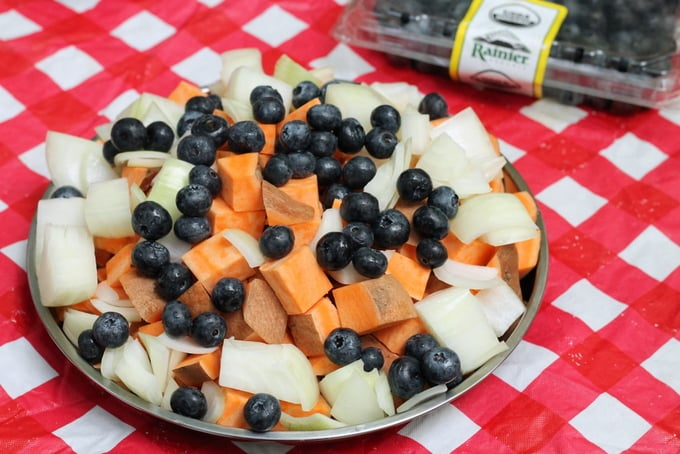 Campfire Roasted Sweet Potatoes and Blueberries Ingredients