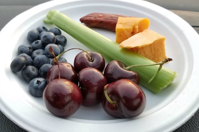 Better for you snacks for road trips and lunches: blueberries, cherries, celery, cheese, pepperoni