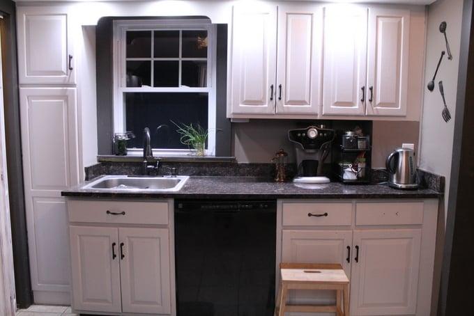 DIY Kitchen Makeover after sink wall