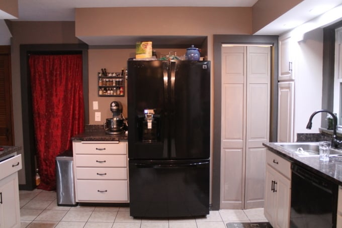 DIY Kitchen Makeover refrigerator wall