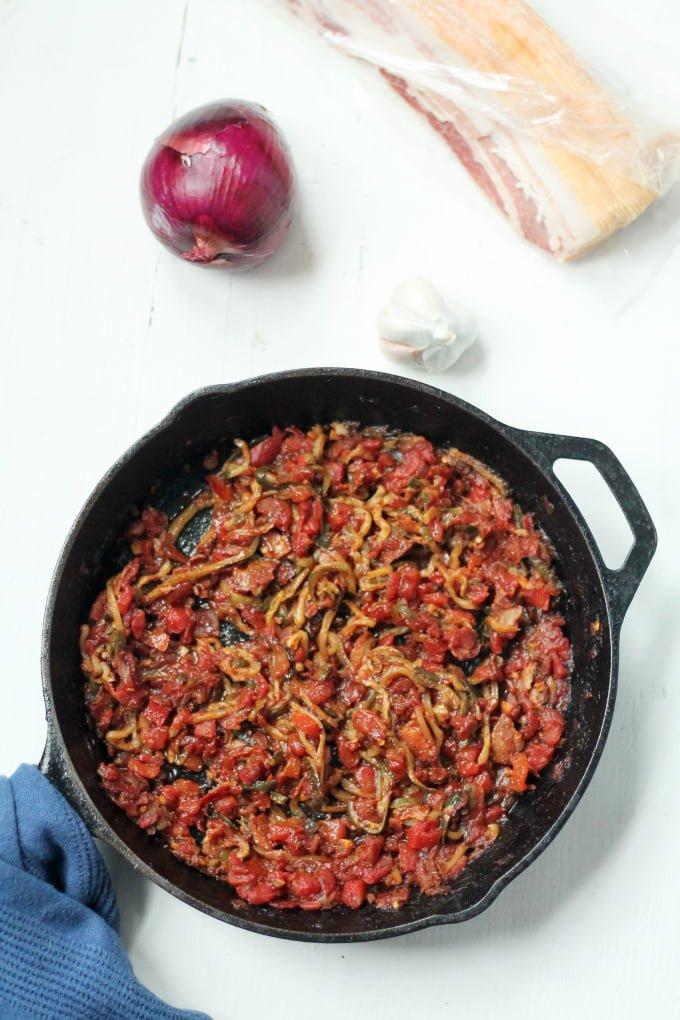Zucchini Noodle Recipe with Tomato Bacon Sauce