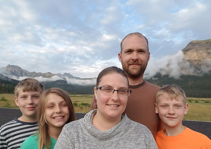Family Picture leaving Yellowstone National Park