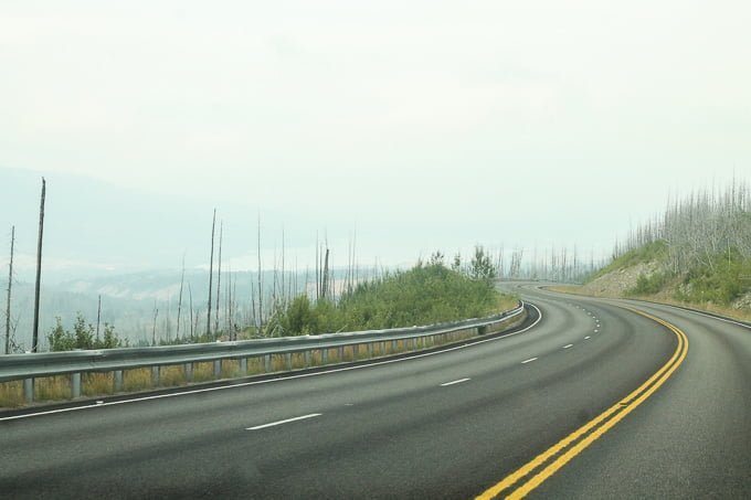 approaching Glacier National Park on Family Road Trip