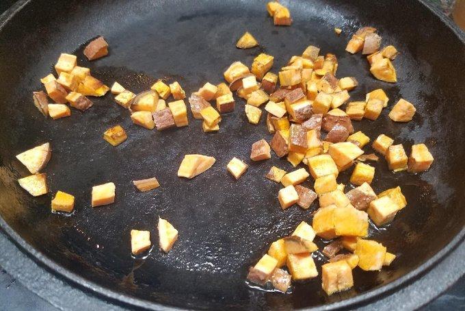 sweet potato diced in frying pan