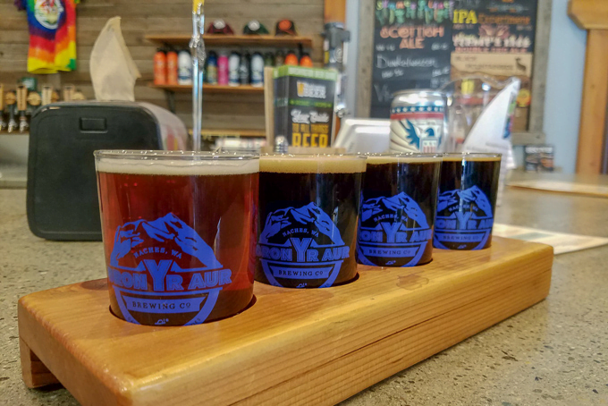 Bron Yr Aur Brewery flight Naches Washington