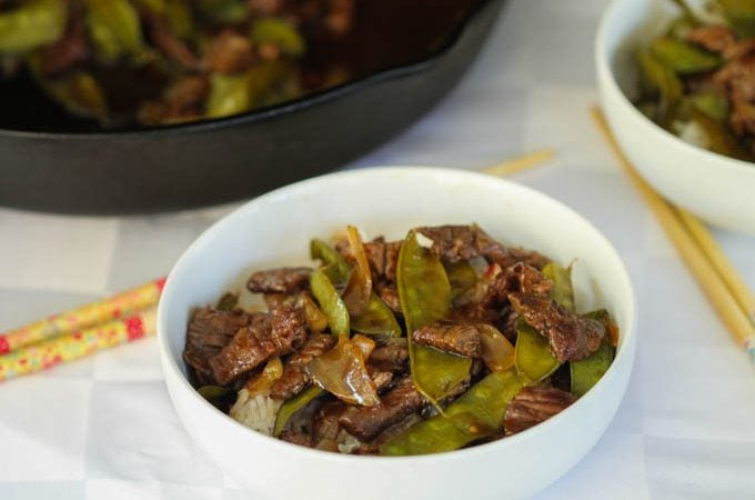 Spicy Apricot Beef Stir Fry recipe Snow Peas
