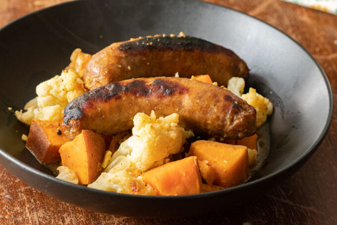 Maple Mustard Sausage, Sweet Potatoes, and Cauliflower